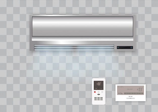 Vectorairconditioner met geïsoleerde verse lucht.