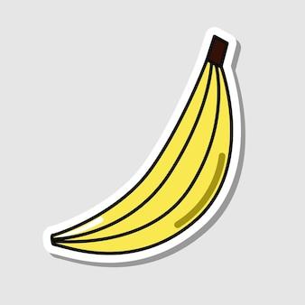 Vectorbanaansticker in cartoonstijl geïsoleerd fruit met schaduw
