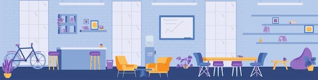 Vectorbanner met interieur van moderne coworking-ruimte voor werk op kantoor