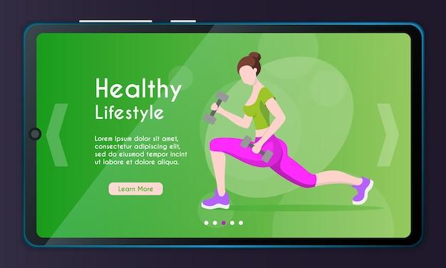 Vectorbannerillustratie van fitnesstraining gezonde levensstijl vrouwelijk karakter