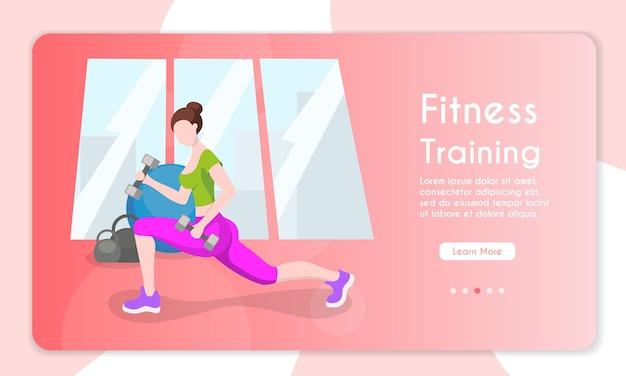 Vectorbannerillustratie van fitnesstraining gezonde levensstijl