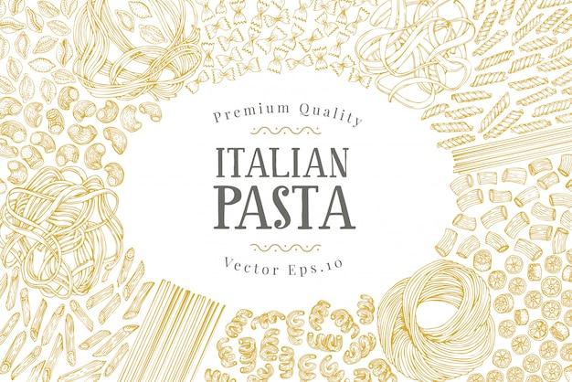 Vectorbannermalplaatje met verschillende types van traditionele italiaanse deegwaren.