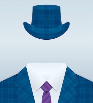 Vectorbeeld van dicht omhooggaand kostuum met hoed