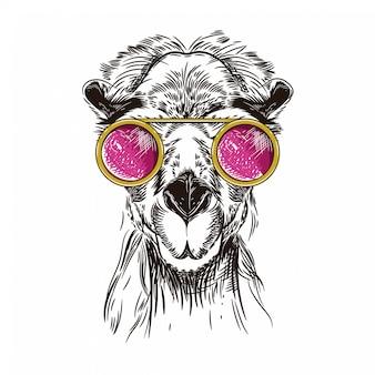 Vectorbeeld van een kameel in roze glazen