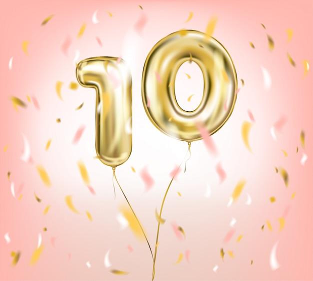 Vectorbeeld van uitstekende kwaliteit van gouden ballon tien