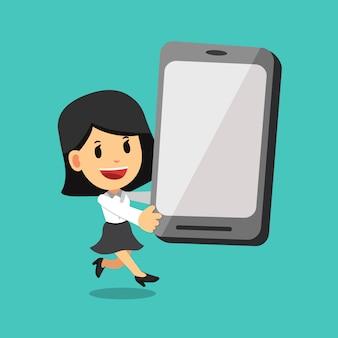 Vectorbeeldverhaal van onderneemster en grote smartphone