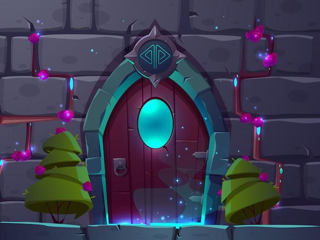 Vectorbeeldverhaalachtergrond met houten magische deur met venster. ystery portal