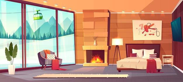 Vectorbeeldverhaalbinnenland van de slaapkamer van het luxehotel met meubilair
