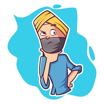 Vectorbeeldverhaalillustratie van de mens van punjabi.