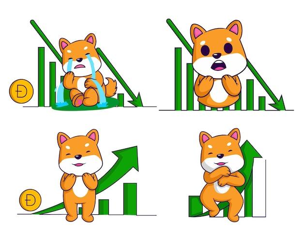Vectorbeeldverhaalillustratie van dogecoin-tekenset