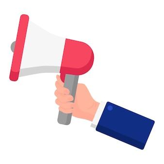 Vectorbeeldverhaalillustratie van een hand die de draagbare luidspreker vasthoudt die op een witte achtergrond wordt geïsoleerd. amerikaanse presidentsverkiezingen 2020. stemmen, patriottisme en onafhankelijkheidsconcept.