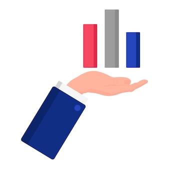 Vectorbeeldverhaalillustratie van een hand die een statistiekengrafiek toont die op een witte achtergrond wordt geïsoleerd. amerikaanse presidentsverkiezingen 2020. stemmen, patriottisme en onafhankelijkheidsconcept.