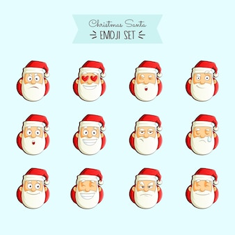 Vectorbeeldverhaalillustratie van emojireeks van kerstmissanta.
