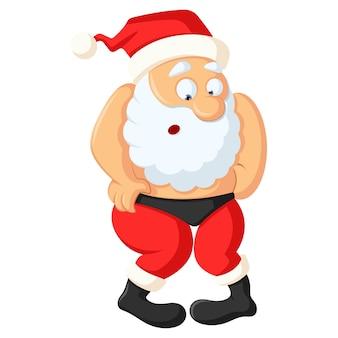 Vectorbeeldverhaalillustratie van grappige kerstman.