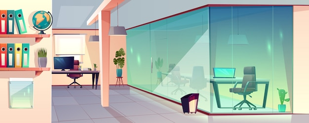 Vectorbeeldverhaalillustratie van helder bureau, moderne werkplaats met transparante glasmuur en tegel