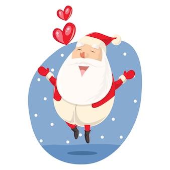Vectorbeeldverhaalillustratie van het springen van de kerstman.