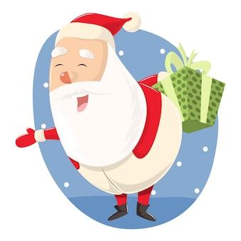 Vectorbeeldverhaalillustratie van kerstman met giftdoos.