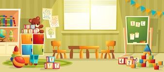 Vectorbeeldverhaalillustratie van lege kleuterschoolruimte met meubilair en speelgoed voor jonge kinderen. N