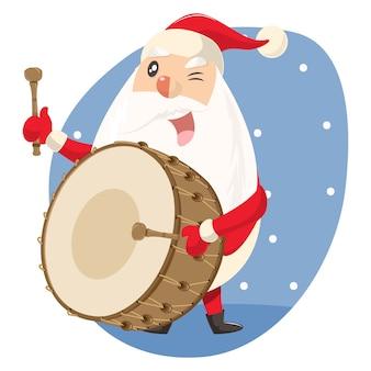 Vectorbeeldverhaalillustratie van leuke kerstman met slagwerker.