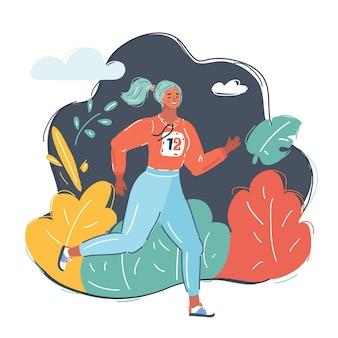 Vectorbeeldverhaalillustratie van vrouw rennen en maakt een avond joggen in het park.