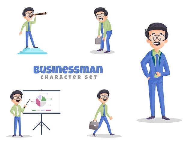 Vectorbeeldverhaalillustratie van zakenmankarakterset