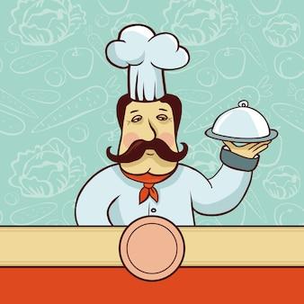 Vectorbeeldverhaalkarakter - chef-kokkok met plaat