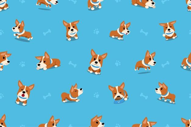 Vectorbeeldverhaalkarakter corgi hond naadloos patroon