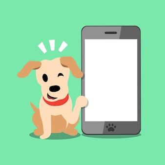 Vectorbeeldverhaalkarakter labrador en smartphone