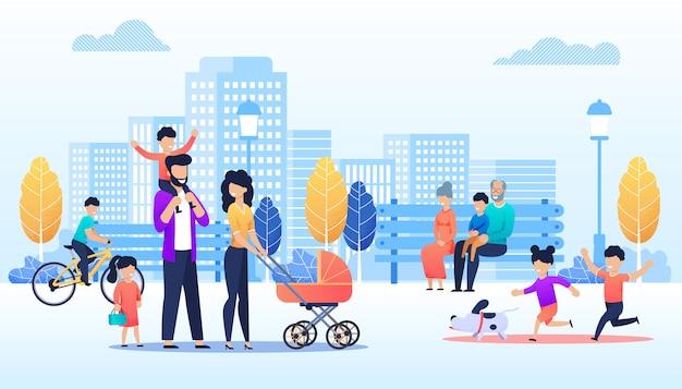Vectorbeeldverhaalmensen die in stedelijk park lopen