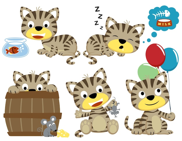 Vectorbeeldverhaalreeks grappige katten