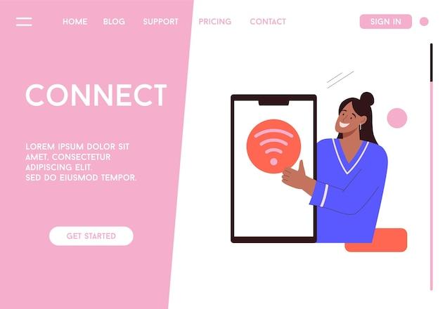 Vectorbestemmingspagina van online verbindingsconcept