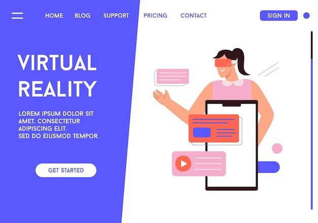 Vectorbestemmingspagina van virtual reality-concept