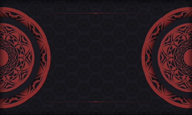 Vectorbriefkaartontwerp met griekse patronen. zwart-rode banner met luxe ornamenten voor uw logo.