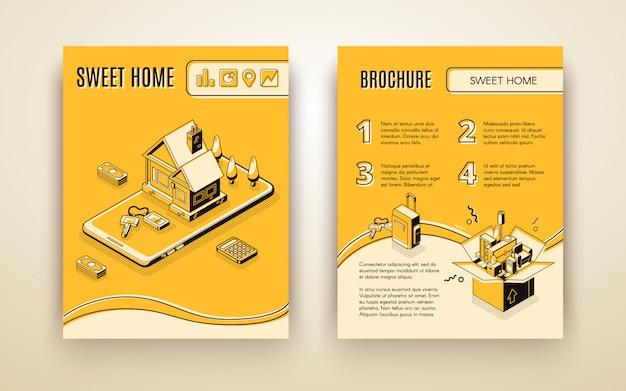 Vectorbrochuremalplaatje met 3d isometrische huisbeweging die - door slimme technologieën reizen