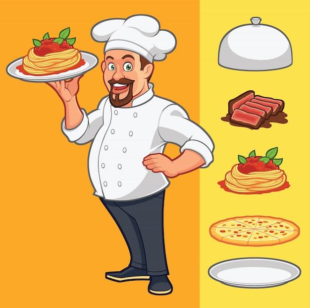 Vectorchef-kok die voedsel levert