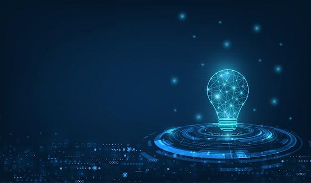 Vectorcirkelté-technologie met lichtblauwe en gloeilamp op technologieachtergrond.