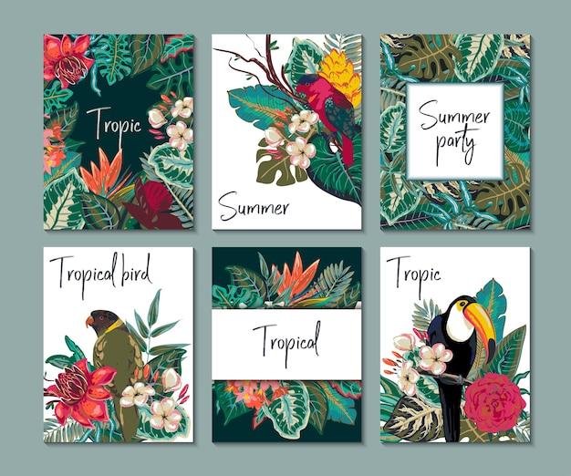 Vectorcollectie met zes kaarten, notities en banners met exotische toekanbloemen