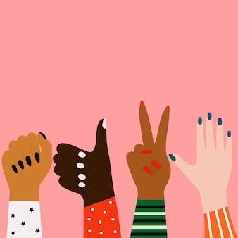 Vectorconcept van de strijd voor gelijkheidwomens handen van verschillende etniciteiten vrouwelijk concept