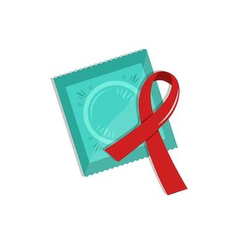 Vectorcondoom in pakket met rood lint. wereld aids dag herinnering. anticonceptie concept. medische geïsoleerde platte pictogram.