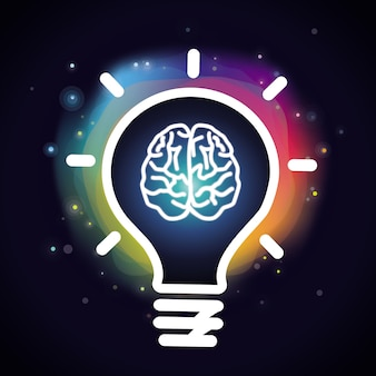 Vectorcreativiteitconcept - hersenen en gloeilamp