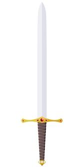Vectordieillustratie van een zwaard met juwelen wordt versierd