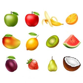 Vectordiereeks vruchten op witte achtergrond worden geïsoleerd. ontwerp elementen