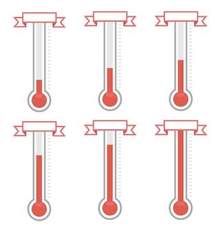Vectordoelthermometers op verschillende niveaus.