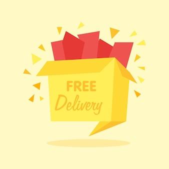 Vectordoos met pictogram voor gratis verzending - pictogram voor internetwinkelen