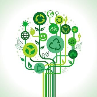 Vectorecologieconcept - abstracte groene boom met kringlooptekens en symbolen