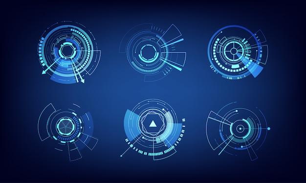 Vectorelementen instellen technologie cirkel ontwerp