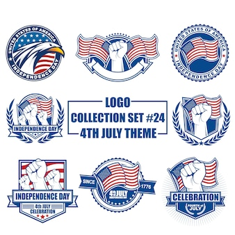 Vectorembleem, kenteken, embleem, symbool en pictograminzameling die met het thema van de onafhankelijkheidsdag van de vs wordt geplaatst