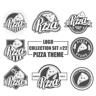 Vectorembleem, kenteken, embleem, symbool en pictograminzameling die met pizzathema wordt geplaatst