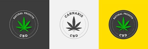 Vectorembleem van cannabis sativa en indica-cannabis op een gekleurde achtergrond in het midden van de