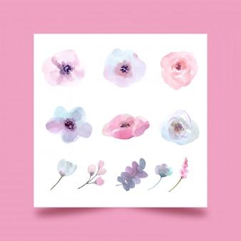 Vectoren, geïsoleerde set aquarel bloemen vijand ontwerp